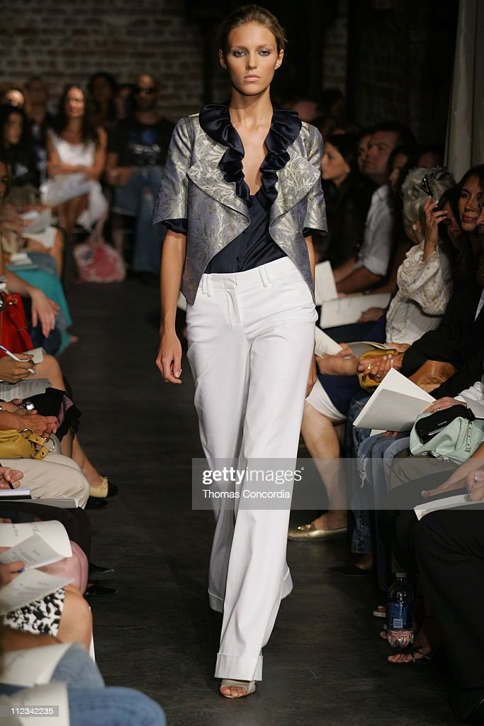 Anja Rubik wearing Yigal Azrouel Spring 2006 during Olympus Fashion Week Spring 2006 Yigal Azrouel Runway at 408 West 14th Street in New York City...