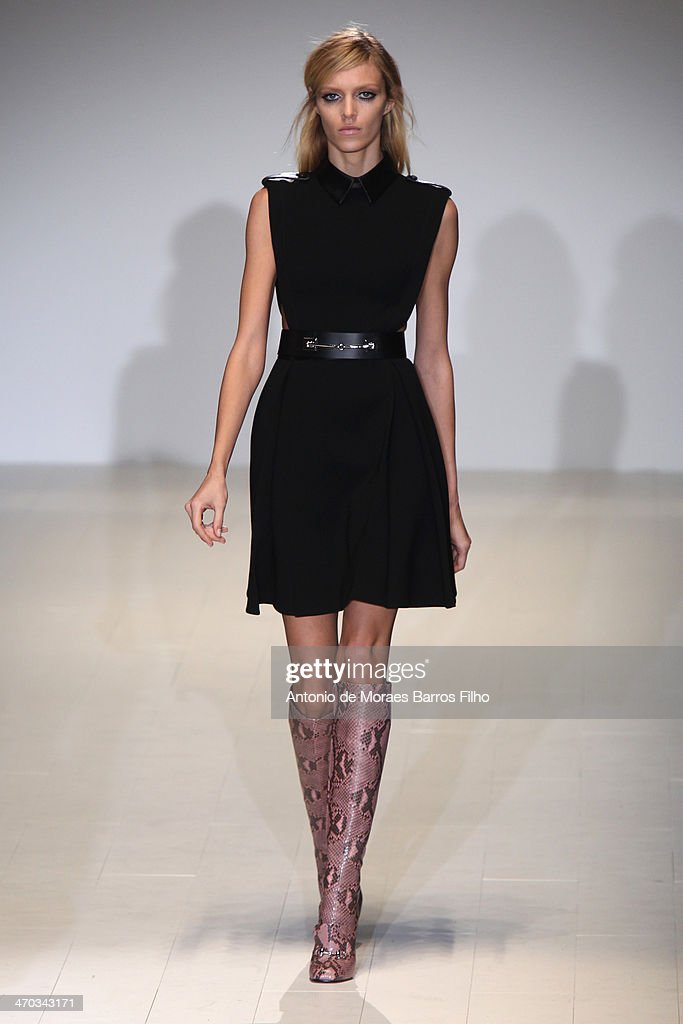 Anja Rubikl walks the runway during the Gucci show as a part of Milan Fashion Week Womenswear Autumn/Winter 2014 on February 19 2014 in Milan Italy