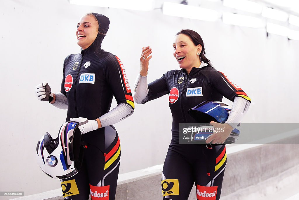 Anja Schneiderheinze and Annika Drazek of Germany celebrate victory after their fourth run during Day 2 of the IBSF World Championships for Bob and Skeleton at Olympiabobbahn Igls on February 13, 2016 in Innsbruck, Austria.