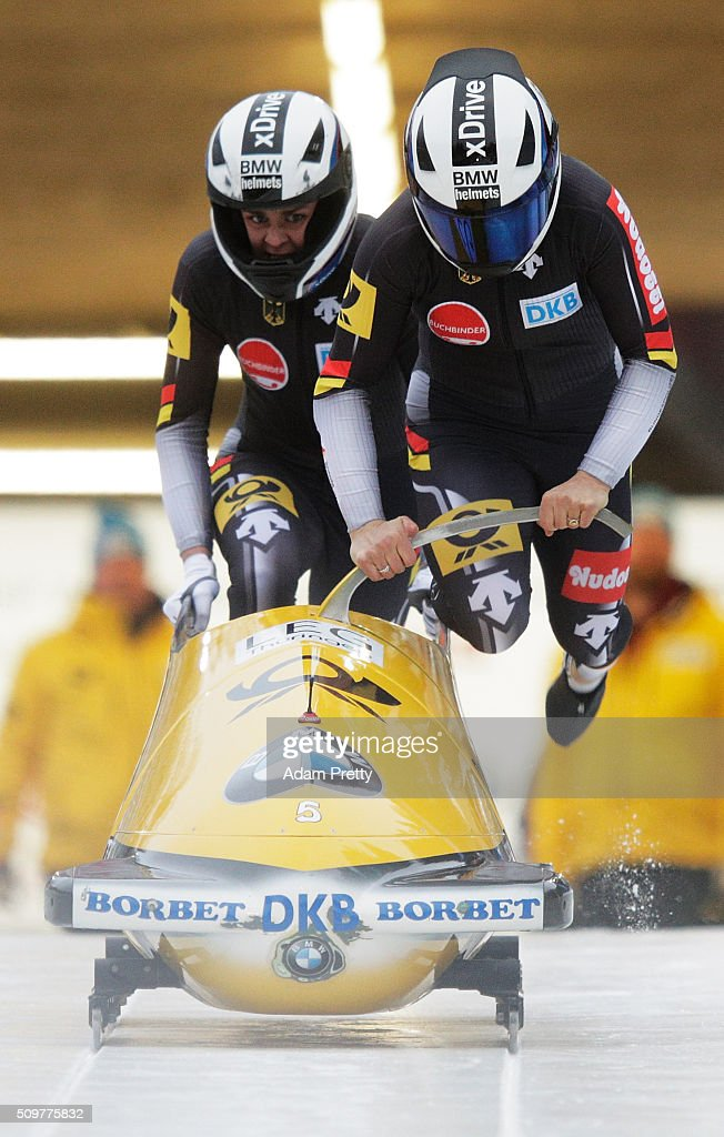 Anja Schneiderheinze and Annika Drazek of Germany push their Bob off the start during during Day 1 of the IBSF World Championships for Bob and Skeleton at Olympiabobbahn Igls on February 12, 2016 in Innsbruck, Austria.