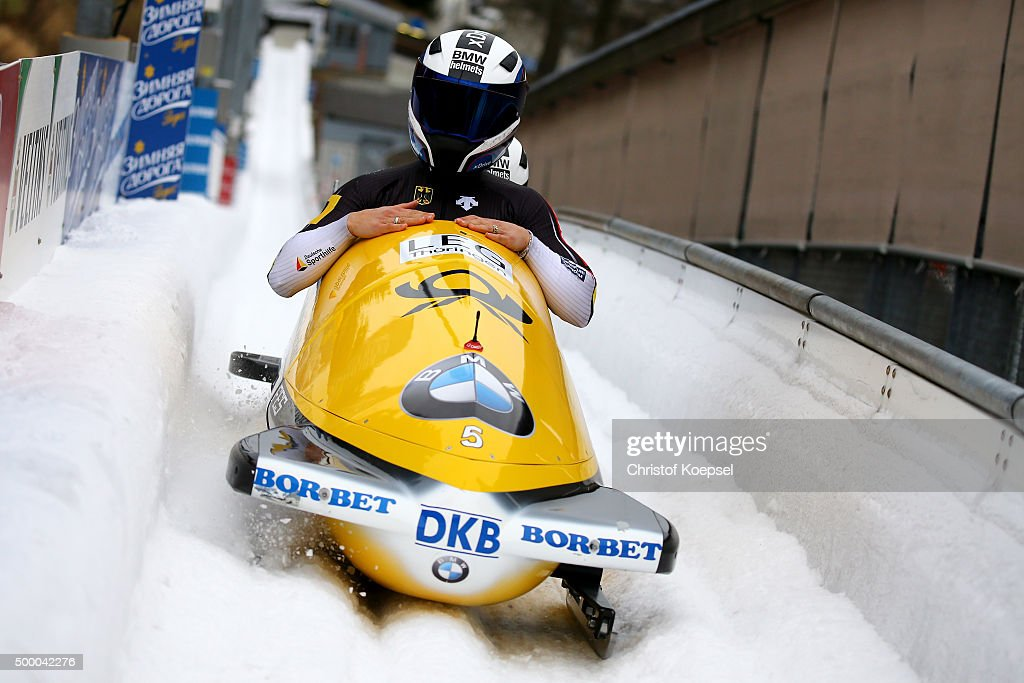 Anja Schneiderheinze and Erline Nolte of Germany compete in their second run of the two women's bob competition during the BMW IBSF Bob & Skeleton Worldcup at Veltins Eis-Arena on December 4, 2015 in Winterberg, Germany.