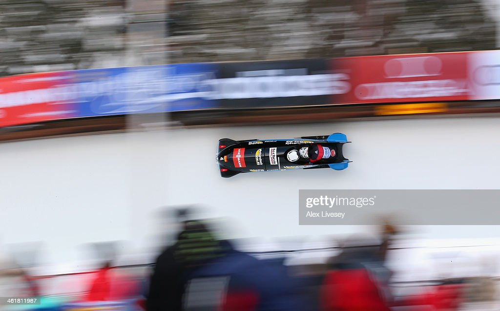 Anja Schneiderheinze and Stephanie Schneider of Germany in action during the final heat of the Women's Bobsleigh at the Viessmann FIBT Bob & Skeleton World Cup at the Olympia Bob Run on January 11, 2014 in St Moritz, Switzerland.