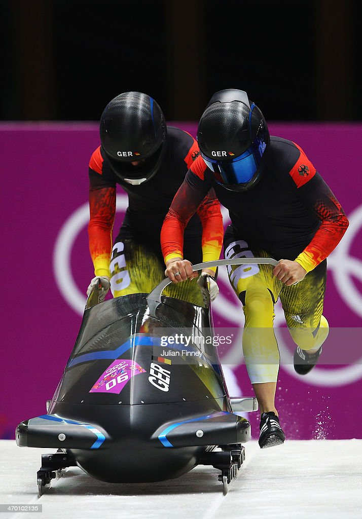 Anja Schneiderheinze and Stephanie Schneider of Germany team 3 make a run during the Women's Bobsleigh heats on day 11 of the Sochi 2014 Winter Olympics at Sliding Center Sanki on February 18, 2014 in Sochi, Russia.