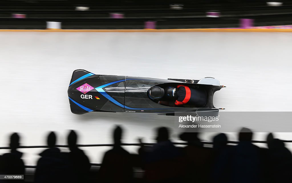 Anja Schneiderheinze and Stephanie Schneider of Germany team 3 make a run during the Women's Bobsleigh on Day 12 of the Sochi 2014 Winter Olympics at Sliding Center Sanki on February 19, 2014 in Sochi, Russia.