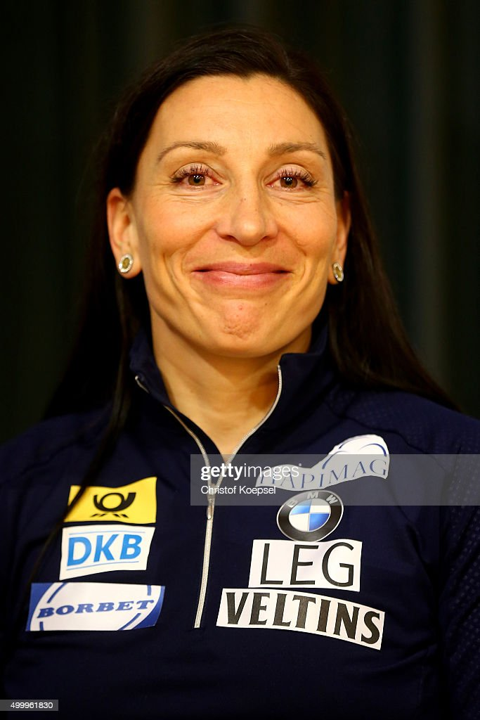 Anja Schneiderheinze of bob team Germany attends a press conference at Veltins Eis-Arena on December 4, 2015 in Winterberg, Germany.