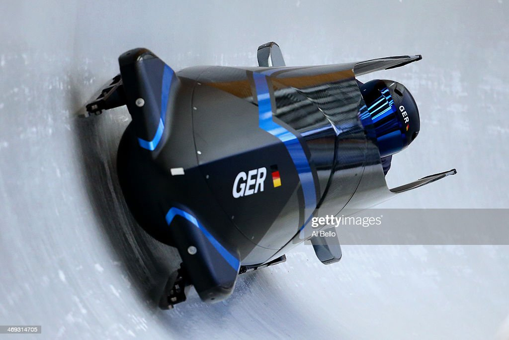 Anja Schneiderheinze of Germany pilots a run during a Women's Bobsleigh training session on day 7 of the Sochi 2014 Winter Olympics at the Sanki Sliding Center on February 14, 2014 in Sochi, Russia.
