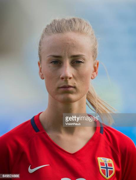 Anja Sønstevold of Norway during the Group B 2017 Algarve Cup match between Norway and Japan at the Estadio Algarve on March 06 2017 in Faro Portugal