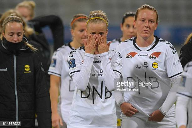 Anja Sonstevold of Lillestrom looks dejected during the Women's Champions League match between PSG and Lillestrom at Stade Charlety on October 13...