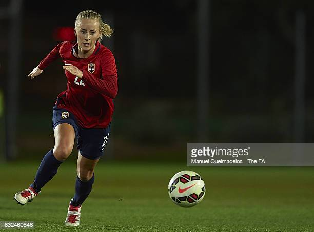 Anja Sonstevold of Norway runs with the ball during the international friendly match between Norway Women and England Women at La Manga Club on...