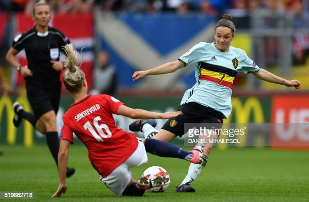 Anja Sonstevold of Norway tackles Elke Van Gorp of Belgium during the UEFA Women's Euro 2017 football match between Norway and Belgium at the Rat...