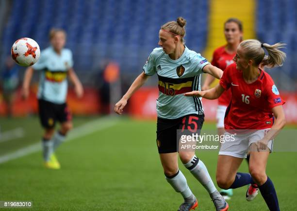 Anja Sonstevold of Norway vies with Yana Daniels of Belgium during the UEFA Women's Euro 2017 football match between Norway and Belgium at the Rat...