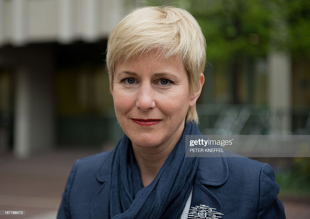 Anja Sturm, lawyer of the sole survivor of the far-right militants NSU Beate Zschaepe (not in pic) poses in front of the Higher Regional Court Munich (Oberlandesgerichtes Muenchen) on April 29, 2013 in Munich, southern Germany. The trial against Zschaepe and four other alleged neo-Nazi accomplices, begins on May 6, 2013.