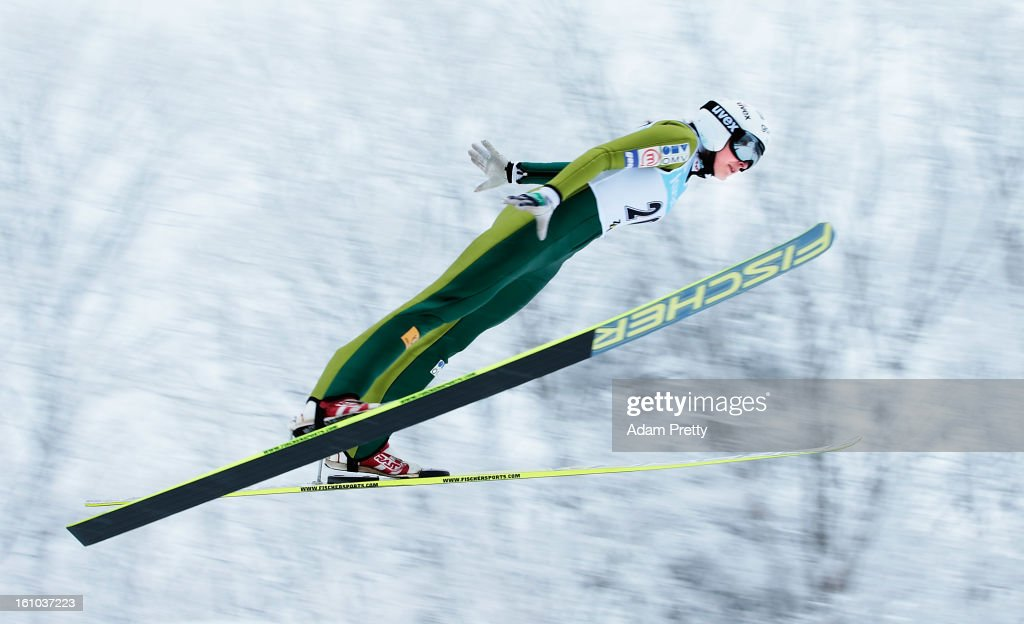 Anja Tepes of Slovenia jumps in the first round of competition during day one of the FIS Women's Ski Jumping World Cup at Zao Jump Stadium on February 9, 2013 in Yamagata, Japan.