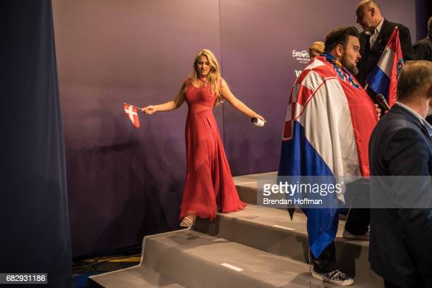 Anja the contestant from Denmark leaves the postshow press conference following the second Eurovision semifinal on May 11 2017 in Kiev Ukraine...