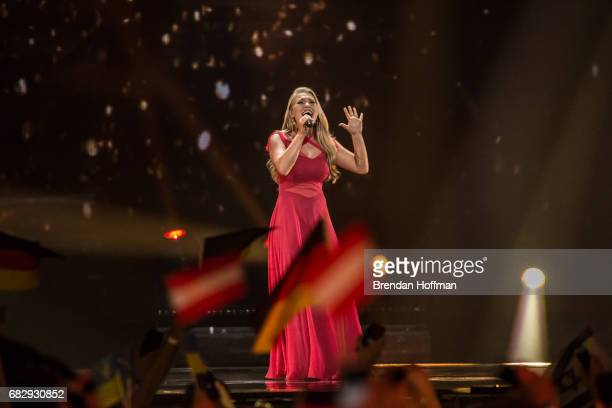 Anja the contestant from Denmark performs at the Eurovision Grand Final on May 13 2017 in Kiev Ukraine Ukraine is the 62nd host of the annual...