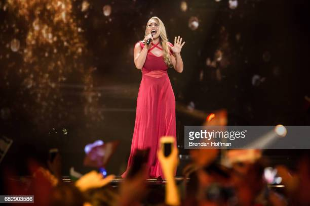 Anja the contestant from Denmark performs during the second Eurovision semifinal on May 11 2017 in Kiev UkraineUkraine is the 62nd host of the annual...