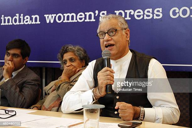 Anjali Gopalan Director Naz Foundation and and Anand Grover from Lawyers Collective with member of different NGOs during the press conference as they...