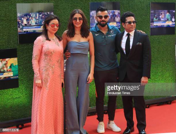 Anjali Tendulkar actress Anushka Sharma Virat Kohli and Sachin Tendulkar during the screening of 'Sachin A Billion Dreams' film at PVR on May 24 2017...