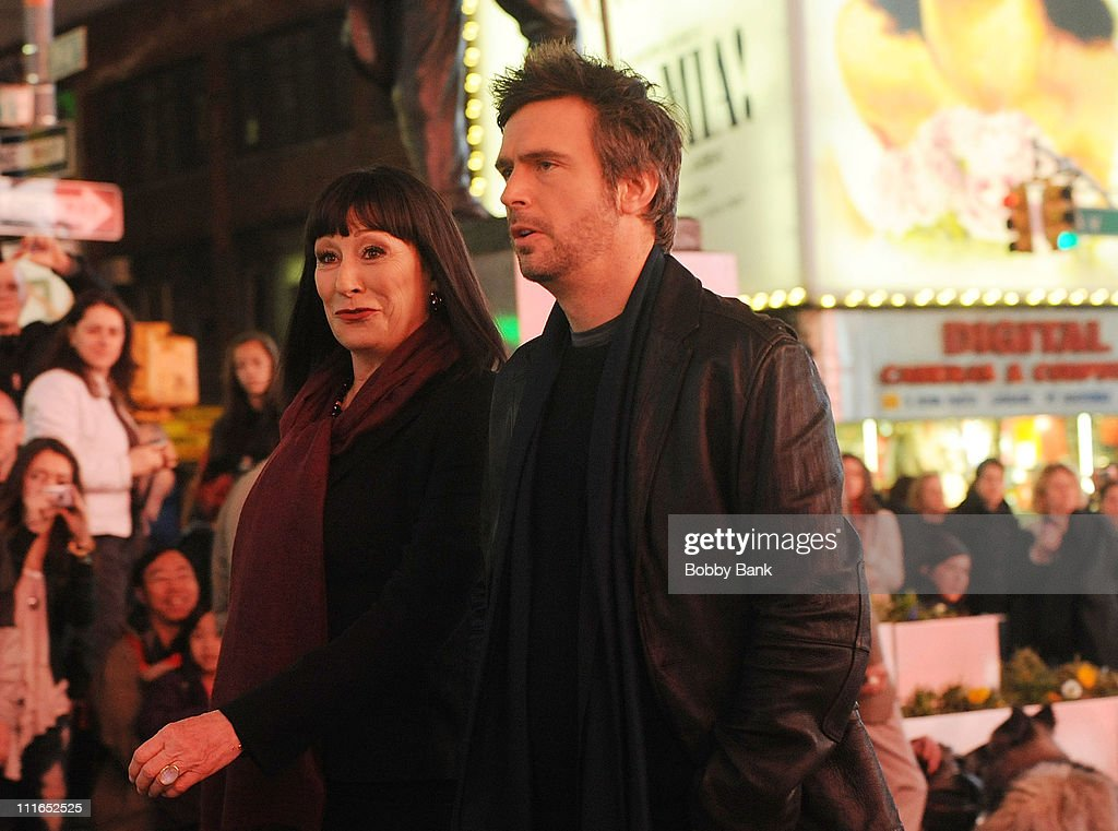 Anjelica Huston and Jack Davenport filming on location for 'Smash' on the streets of Manhattan on April 4 2011 in New York City