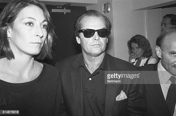 Anjelica Huston And Jack Nicholson at a party following the screening of Amadeus