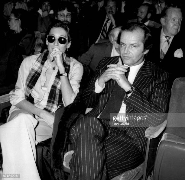 Anjelica Huston and Jack Nicholson attend Mabel Mercer Concert on March 21 1978 at the Dorothy Chandler Pavilion in Los Angeles California