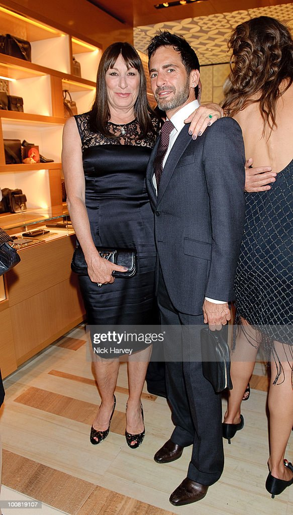 Anjelica Huston (L) and Marc Jacobs attend the launch of the Louis Vuitton Bond Street Maison on May 25, 2010 in London, England.