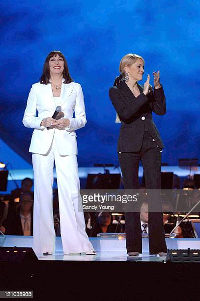 Anjelica Huston and Sharon Stone during The Nobel Peace Prize 2006 Concert and Ceremony at Oslo Spektrum in Oslo Norway