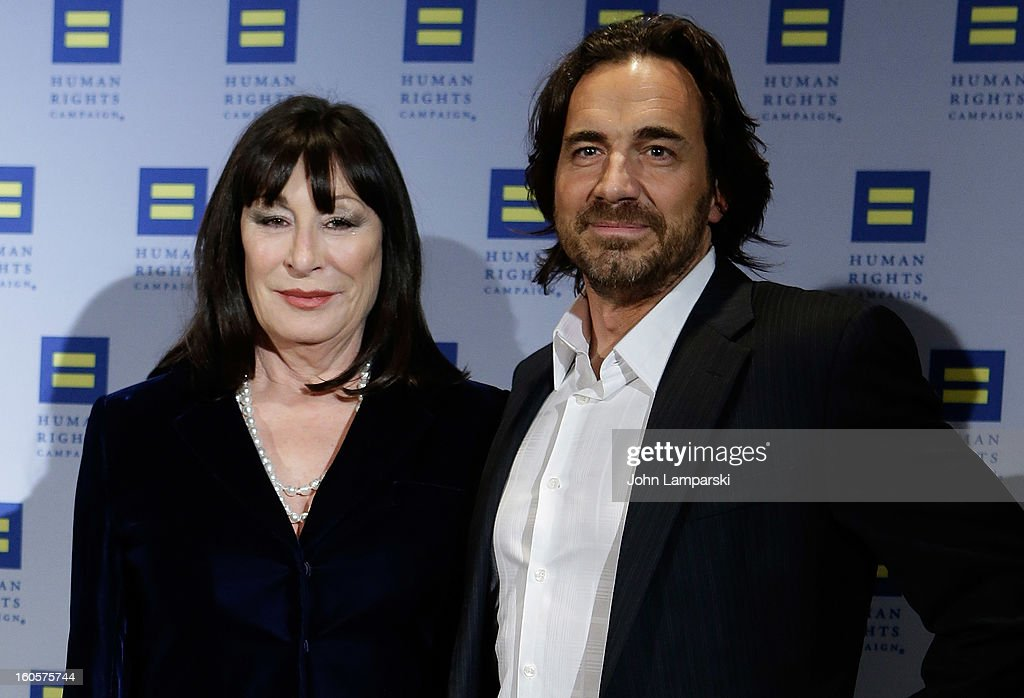 Anjelica Huston and Thorsten Kaye attend The 2013 Greater New York Human Rights Campaign Gala at The Waldorf=Astoria on February 2, 2013 in New York City.