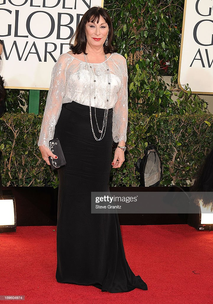 Anjelica Huston arrives at the 70th Annual Golden Globe Awards at The Beverly Hilton Hotel on January 13, 2013 in Beverly Hills, California.
