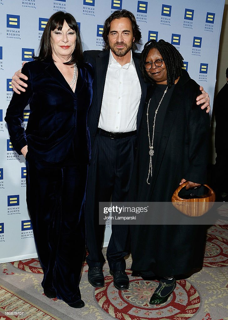 Anjelica Huston , Thorsten Kaye and Whoopi Goldberg attend The 2013 Greater New York Human Rights Campaign Gala at The Waldorf=Astoria on February 2, 2013 in New York City.