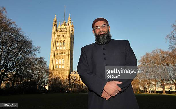 Anjem Choudary a member of the proIslamic group 'Islam4UK' poses for photographs in front of the Houses of Parliament on January 4 2010 in London...