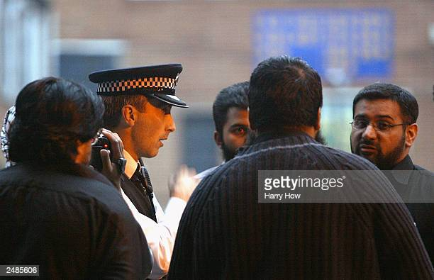 Anjem Choudary and members of radical Islamic group Al Muhajiroun are given orders by the police to cancel a planned meeting September 11 2003 in...