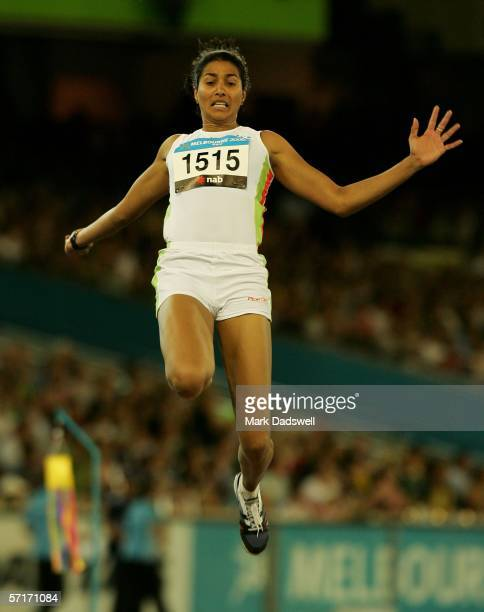 Anju Bobby Geirge of India competes during the women's Long Jump final at the athletics during day nine of the Melbourne 2006 Commonwealth Games at...