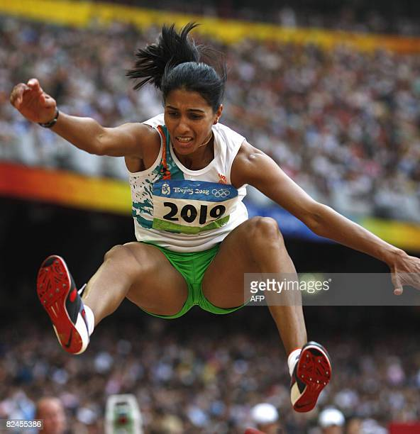 Anju Bobby George of India competes during the women's long jump qualification round at the 'Bird's Nest' National Stadium during the 2008 Beijing...