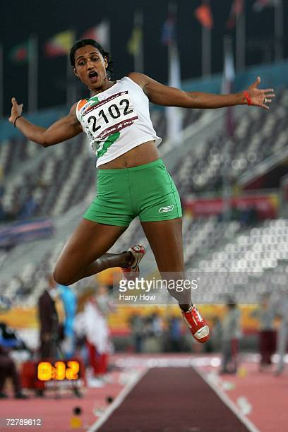 Anju Bobby George of India competes in the Women's Long Jump Final during the 15th Asian Games Doha 2006 at the Khalifa Stadium December 10 2006 in...