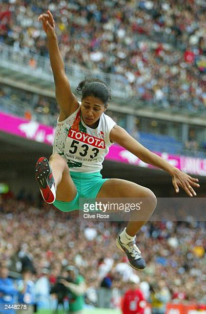 Anju Bobby George of India in action during the women's long jump final at the 9th IAAF World Athletics Championship at the Stade de France on August...