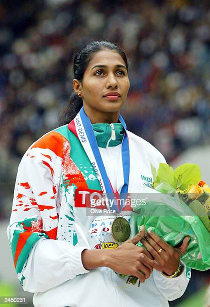 Anju Bobby George of India with her bronze medal during the medal ceremony for the womens long final at the 9th IAAF World Athletics Championship at...