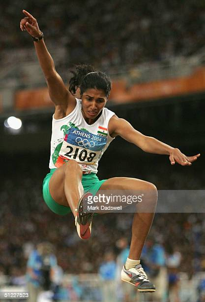 Anju Bobby George of Indonesia competes in the women's long jump final on August 27 2004 during the Athens 2004 Summer Olympic Games at the Olympic...
