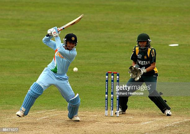 Anjum Chopra of India drives the ball away during the ICC Women's Twenty20 World Cup match between India and Pakistan at The County Ground on June 13...