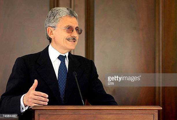 Italy's Foreign Minister Massimo D'Alema gives a press conference after a meeting with his Turkish counterpart Abdullah Gul in Ankara 13 June 2007...