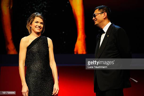 Anke Engelke and Jury president Wong KarWai attend the Closing Ceremony during the 63rd Berlinale International Film Festival at Berlinale Palast on...