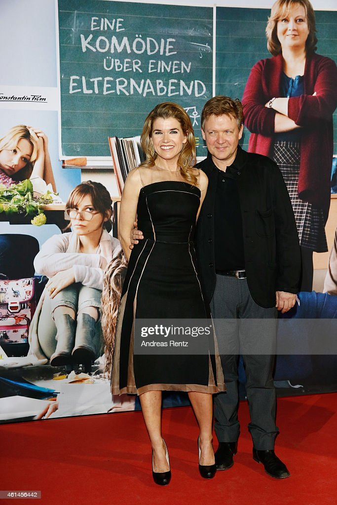 Anke Engelke and Justus von Dohnanyi attend the premiere of the film 'Frau Mueller muss weg' at Cinedom on January 12, 2015 in Cologne, Germany.