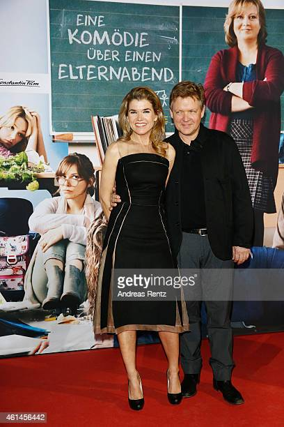 Anke Engelke and Justus von Dohnanyi attend the premiere of the film 'Frau Mueller muss weg' at Cinedom on January 12 2015 in Cologne Germany
