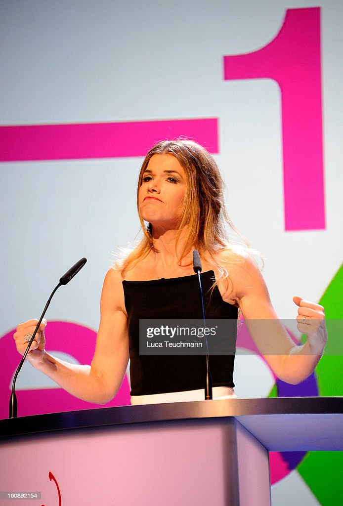 <a gi-track='captionPersonalityLinkClicked' href=/galleries/search?phrase=Anke+Engelke&family=editorial&specificpeople=228788 ng-click='$event.stopPropagation()'>Anke Engelke</a> during the Opening Ceremony of the 63rd Berlinale International Film Festival at the Berlinale Palast on February 7, 2013 in Berlin, Germany.