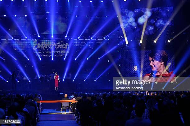 Anke Engelke during the TV Show finals of 'Our Star For Malmoe' on February 14 2013 in Hanover Germany 'Our Star For Malmoe' is a national contest to...