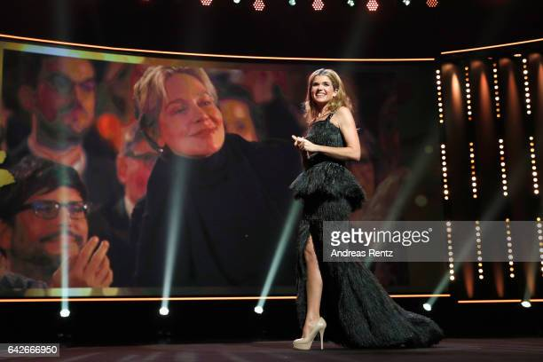 Anke Engelke speaks on stage at the closing ceremony of the 67th Berlinale International Film Festival Berlin at Berlinale Palace on February 18 2017...