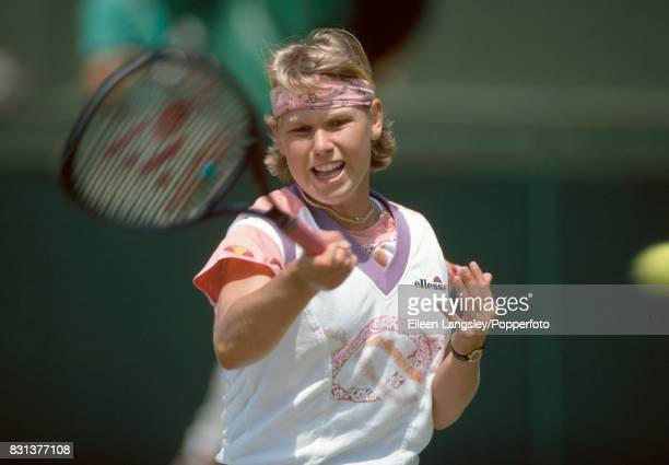 Anke Huber of Germany in action during a women's singles match at the Wimbledon Lawn Tennis Championships in London circa June 1993 Huber was...