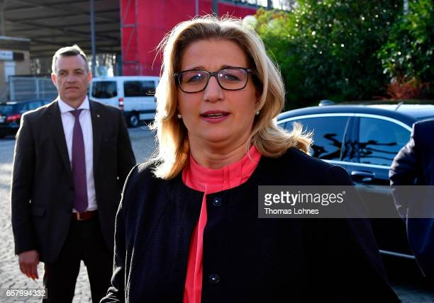 Anke Rehlinger lead candidate of the German Social Democrats speaks to the press after initial elections results gave the SPD a second place finish...