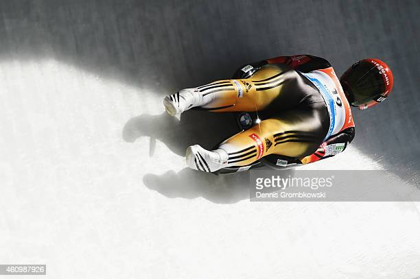 Anke Wischnewski of Germany competes in the 1st run of the Women's FIL Luge World Cup Koenigssee at Deutsche Post Eisarena on January 3 2015 in...