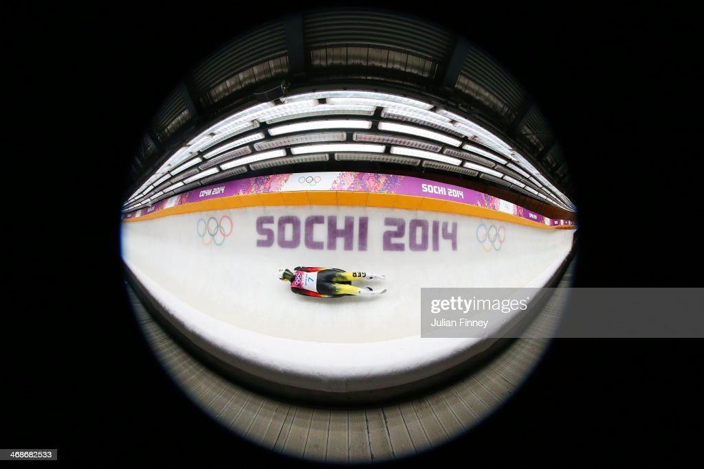 <a gi-track='captionPersonalityLinkClicked' href=/galleries/search?phrase=Anke+Wischnewski&family=editorial&specificpeople=2144670 ng-click='$event.stopPropagation()'>Anke Wischnewski</a> of Germany in action during the Women's Luge Singles on Day 4 of the Sochi 2014 Winter Olympics at Sliding Center Sanki on February 11, 2014 in Sochi, Russia.